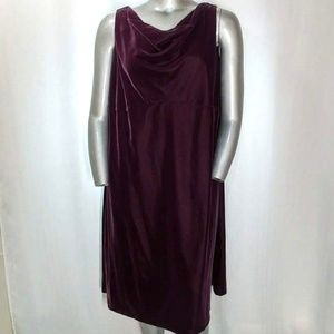 Jaclyn Smith Dress Velour V-neck Sleeveless Midi